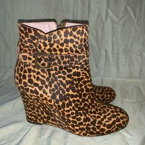 Vince Camino faux leopard fur wedge booties